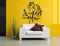 Amazon.com: Wall Room Decor Art Vinyl Sticker Mural Decal Horse Head Mustang Big Large AS984: Baby