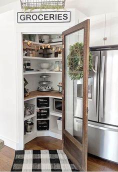 Kitchen Pantry Shelf Refrigerator Room Furniture Home Interior Door Kitchen Pantry Design, Smart Kitchen, Kitchen Redo, Home Decor Kitchen, Home Kitchens, Kitchen Remodel, Corner Kitchen Pantry, Kitchen Floor, Corner Pantry Organization