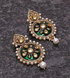 Golden & White Embellished Earrings With Green Enamel Work