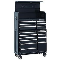 """41"""" Wide 16-Drawer Soft Close Tool Chest and Rolling Cabinet Combination - Black"""