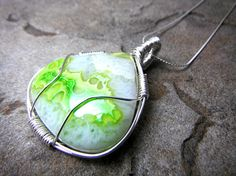 Neon Green Druzy Necklace Wire Wrapped Necklace by CaravanOfBeads