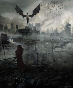 Angel apocalypse say WHAAA...  It's just how I picture the world of Angelfall…