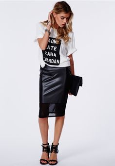 Bess Faux Leather Mesh Hem Midi Skirt - Midi Skirts - Missguided