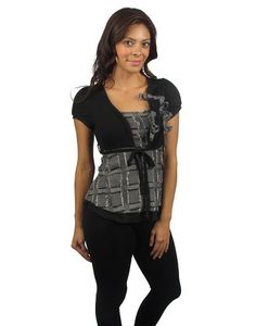 Top w/ attached wrap and decorative tie belt-id.25273