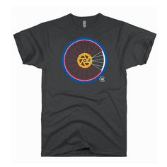 Who likes to ride the Rockies? Represent with this original Colorado flag mountain bike wheel design. Charcoal Heather shirt. 60% Cotton/40% Polyester. This is a MEN'S style available in sizes small-2