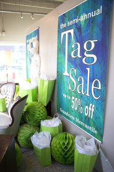 It's a party!!! Our Famous Semi-Annual Tag Sale windows!