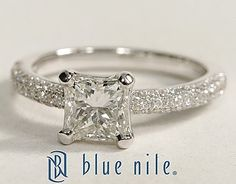 Micropavé Princess Cut Diamond Engagement Ring in 14k White Gold #BlueNile
