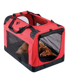 Take a look at this Red Portable Pet Travel Crate by Etna Products on #zulily today!
