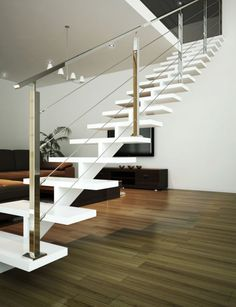 Billedresultat for pinterst escaleras metalicas Steel Stairs, Loft Stairs, House Stairs, Stair Handrail, Staircase Railings, Banisters, Staircases, Interior Stairs, Interior Architecture