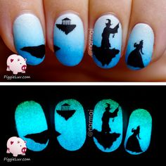 PiggieLuv: Freehand Epic Quest Story (glow in the dark nail art mani!!!) ... Princess, wizard & floating islands