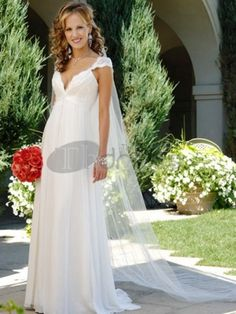 2013 Best Selling Elegant V-Neck Empire Wasit Cap Style Sleeves Sheath Chiffon Satin Sweep Train Beach Bridal Gown In Canada Wedding Dress Prices In Canada Bridal Gowns Prices Wedding Gowns With Sleeves, Wedding Dress Train, Wedding Dress Chiffon, 2015 Wedding Dresses, Cheap Wedding Dress, Bridal Dresses, Lace Wedding, Ethereal Wedding, Dresses 2014