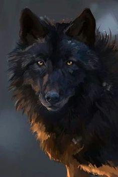 Art of a Black Wolf - beautiful! Anime Wolf, Wolf Spirit, Spirit Animal, Beautiful Creatures, Animals Beautiful, Wolf Artwork, Wolf Painting, Wolf Pictures, Beautiful Wolves