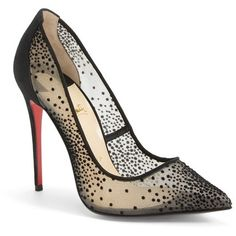 """Christian Louboutin 'Follies' Mesh Pointy Toe Pump, 4"""" heel featuring polyvore fashion shoes pumps heels red pointed toe pumps red stiletto pumps christian louboutin stilettos red sole shoes red high heel pumps"""