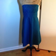 Gap cotton strapless dress CLOSET CLEAN OUT SALE   In great condition. Gap teal blue strapless dress. Boning inserted in bust for structure. Pleated detail under bust. Align skirt. Zipper in back. GAP Dresses Mini