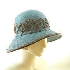 Teal Blue Straw Hat for Women Vintage Fashion by TheMillineryShop