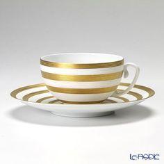 JL Koke Hemisphere Gold stripe tea cup and saucer