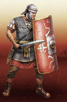 Legionaries were trained to bash their opponent with the boss of their scutum (shield), knocking them off balance, before follwing with a thrust of the gladius (short sword) up into the ribcage. It was a highly efficient steamroller tactic which ensured many Roman victories.