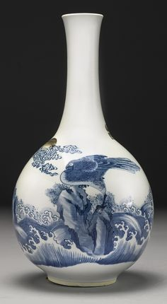 A blue and white and copper-red vase, Qing dynasty, Kangxi period