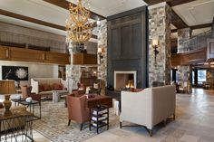 Regis Deer Valley Hotel-love the dark fireplace and stone South Shore Decorating, Fireplace Design, Fireplace Ideas, Commercial Interiors, Park City, Home And Living, Living Room, Living Spaces, Home Accents
