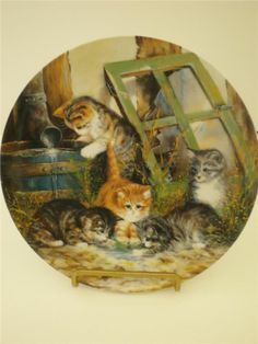 """Seltmann Weiden Cat Plate """"Water Games"""" Von Wolfgang Kaiser Plate # 7"""
