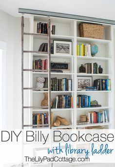 Billy Bookcase Hack with Library Ladder by The LilyPad Cottage