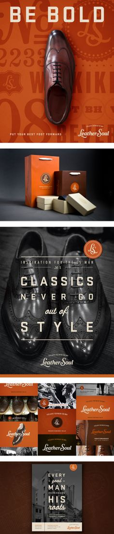 Branding, packaging and ad materials for Leather Soul, a seller of premium leather shoes