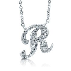 Cubic Zirconia CZ 925 Sterling Silver Cursive Initial Letter R Pendant - Nickel Free BERRICLE. $42.99. Stone Type : Cubic Zirconia. Gender : Women. Nickel Free and Hypoallergenic. Metal : Stamped 925. Stone Total Weight (ct.tw) : 0.15
