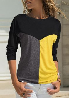 Color Block Splicing O-Neck T-Shirt Tee without Necklace - Gray Find latest women's clothing, dresses, tops, outerwear, and other fashion clothing and enjoy the worldwide shipping # Home T Shirts, Tee Shirts, Tees, Latest Fashion Clothes, Fashion Outfits, Arrow T Shirt, Grey Fashion, Neck T Shirt, Trendy Outfits