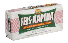 Fels-Naptha bar soap is great for pretreating all kinds of stains—even those weird mystery spots. Make a paste with a little water, apply it to the stain, and let it sit overnight; then wash.