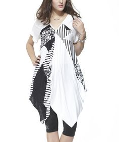 White & Black Geometric Handkerchief Tunic by Simply Couture #zulily #zulilyfinds