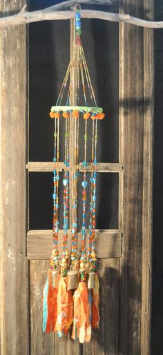 Mobile Bells Décor-Wind Chime- Ceiling Decoration 6 strands of  crystal beads brass bells & 6 strands of  beads ending with fabric tassels by RONITPETERART on Etsy