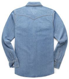 BYWX Men Denim Relaxed Fit Long Sleeve Button Down Shirts