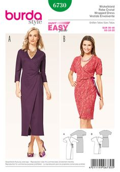 Burda Style 6730 - Easy Women's Side Wrap Dress Sewing Pattern Miss Uncut, factory folded tissue sewing pattern. Sewing Dress, Sewing Clothes, Apron Dress, Motif Kimono, Easy A, Super Easy, Burda Sewing Patterns, Apron Patterns, Dress Making Patterns