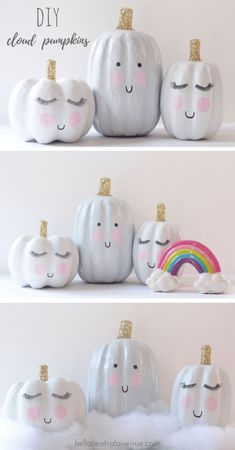 DIY-Cloud Inspired Pumpkins DIY Cloud Inspired Pumpkins paint glitter and cuteness The post DIY-Cloud Inspired Pumpkins appeared first on Halloween Decorations. Halloween Tags, Halloween Mono, Halloween Projects, Holidays Halloween, Halloween Pumpkins, Cute Halloween Decorations, Diy Projects, Halloween Coloring, Christmas Holidays