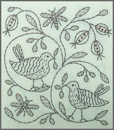 Song Birds, insects, leaves, floral, floral, folk, motif, scrollwork