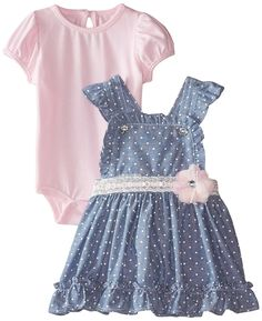 Nannette Baby-Girls Newborn Chambray Jumper Dress and Spandex Jersey Creeper -- Special  product just for you. See it now! : Baby clothes