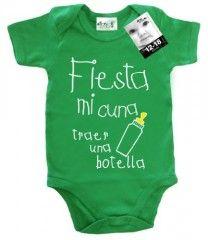 Dirty Fingers, Fiesta mi cuna, traer una botella, Bebés Body, verde, 0-3 meses