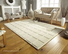 Blocks Ivory Rug, a hand-tufted 100% wool rug (available in 2 sizes) http://www.therugswarehouse.co.uk/white-rugs/blocks-ivory-rug.html #rugs #interiors