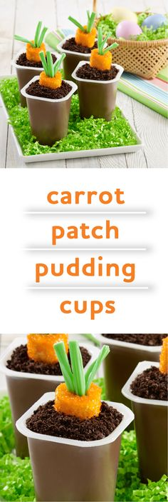 Carrot Patch Pudding Cups | Quick, easy Easter dessert! | Bring the spirit of the Easter Bunny's carrot to pudding treats for a hoppy holiday!