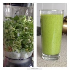 Groene smoothie amandelmelk-andijvie-banaan-sinaasappel-kiwi Power Smoothie, Smoothie Blender, Green Smoothie Recipes, Smoothie Drinks, Smoothie Diet, Healthy Smoothies, Healthy Drinks, Healthy Recipes, Healthy Foods