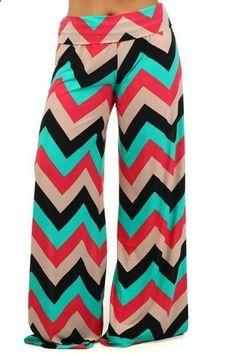 Celeb Style Chevron Zig Zag Geometric Palazzo pants wide leg Coral  Tan  Mint #CasualPants