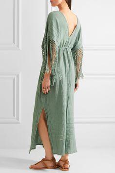 Caravana | Yunuen fringed cotton-gauze dress | NET-A-PORTER.COM