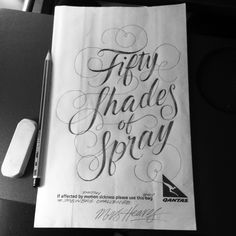 FIFTY SHADES OF SPRAY #spewbagchallengeThis designer (typographer) drew spew based puns on the back of spew bags on airplanes and then took pictures and uploaded them to this tumblr and instagram.
