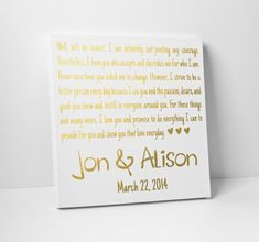 Wedding Vow Art Gold Foil Christmas Gift by TheStandardCanvas Wedding Vow Art, Star Wedding, Wedding Day, Sparkle Wedding, Foil Business Cards, Mr And Mrs Wedding, Love Letters, Gold Foil, Wedding Season