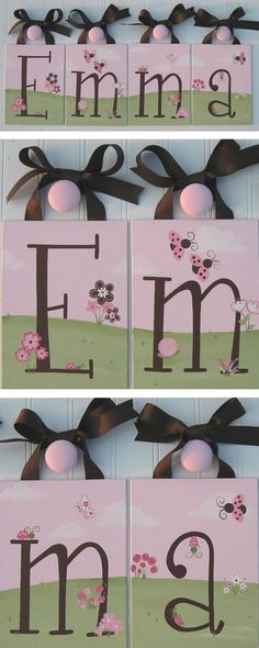 Love Bug Ladybug Pink & Brown Wall Letters