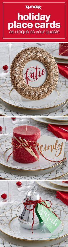 Set the most sought-after holiday table with unique place cards and place card holders that double as gifts for your guests. You can easily elevate your holiday place setting by incorporating a mixture of ornaments, frames, candles or other personal touches. Then, tie your tablescape together with Christmas-themed ribbon, yarn, and a name tag to create a truly festive and one-of-a-kind gift for your guests. Shop holiday décor and more at tjmaxx.com.