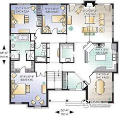 Plan de Rez-de-chaussée Plain-pied classique américain, 3 chambres ...