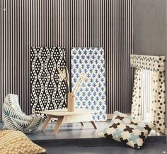 Cardboard dollhouse, crazy prints and simple furniture.