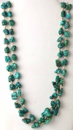 Turquoise Nugget Beaded Double Strand Necklace