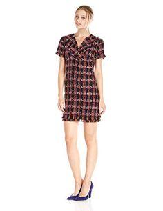 Trina Turk Women's Leann Zigzag Tweed Short-Sleeve Dress  Patterned tweed dress featuring eyelash trim at V-neckline, short sleeves, and hem  http://www.artydress.com/trina-turk-womens-leann-zigzag-tweed-short-sleeve-dress/